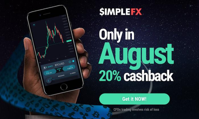 SimpleFX $500 Cashback - Tradez avec le spread 20% plus bas en Août !